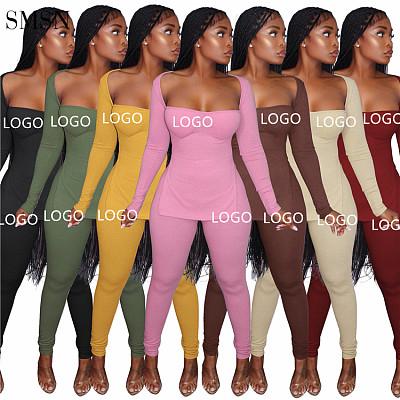 Long Sleeve High Split Top Women'S Pit Strip Fall 2 Piece Set Loungewear Women Sets Two Piece Outfits Set