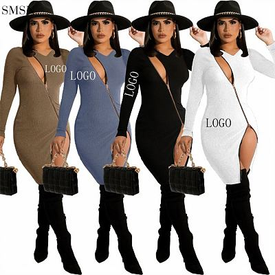 Newest Design Long Sleeve Casual Ladies Dresses Solid Color Rib Sexy Zippers Girl Dress