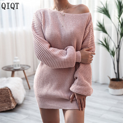 New Arrival Sexy Casual Solid Color Knitted Dresses Elegant Casual Dresses Women Sweater Dress