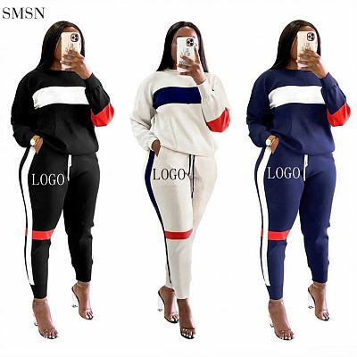 New Arrival Fall 2021 Women Clothes Casual O Neck Patchwork Womens Tracksuits 2 Piece Set