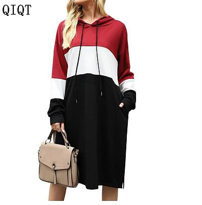 Fashion Casual Women Clothing Dresses Women Lady Elegant Women Cotton Dress Hoodie Sweat Dress