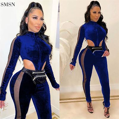 Fashion 2021 Fall Long Sleeve Woman Bodysuit One Piece Jumpsuits Velvet Reseau Patchwork Women One Piece Jumpsuits And Rompers