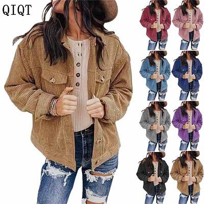 Wholesale Solid Color Loose Cardigan Corduroy Coat Women Fashion Clothing Jacket Plus Size Womens Coats