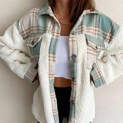 Lowest Price Autumn Winter Coat Women Clothing Plaid Baseball Jacket Winter Women Coat