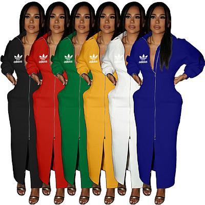 Fall fashion solid color long sleeve dresses women lady elegant zipper turn-down collar maxi dress ladies