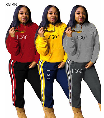 Amazon 2021 Fall 2021 Women Clothes Casual Side Stripe Sweatpants And Hoodie Two Piece Set Tracksuits
