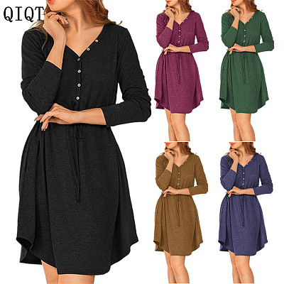 High Quality Wholesale Womens Fall Clothing Long Midi Solid Color Women Casual Dresses