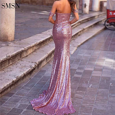 Off Shoulder Fishtail Gown Party Prom Dresses Women Lady Elegant Elegant Casual Bridesmaid Evening Dresses With Sequined