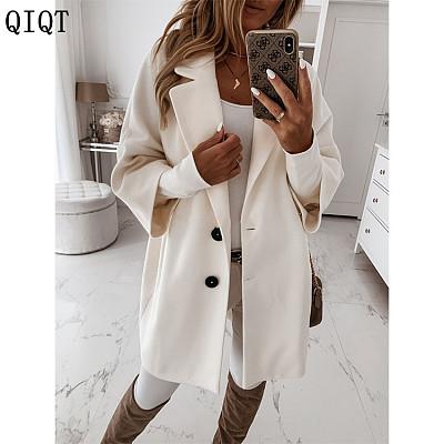 High Quality Women Fashion Clothing Button Lapel Pocket Woolen Coat Women Winter Jacket