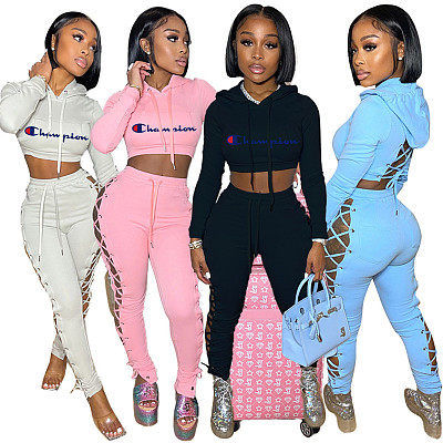 Woman 2021 Fall Casual Clothing Solid Sexy Side Open 2 Piece Crop Top Jogger Set Women Hoodie Two Piece Pants Sets