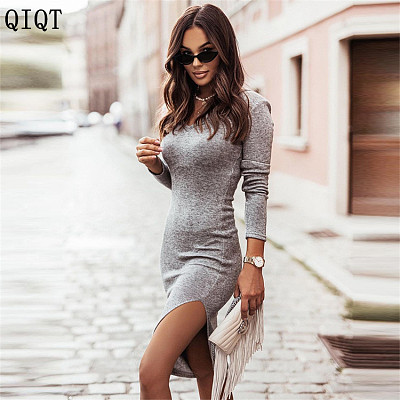 Newest Design Fall 2021 Women Clothes Women Dress Sexy Solid Color Casual Dresses Bodycon Women