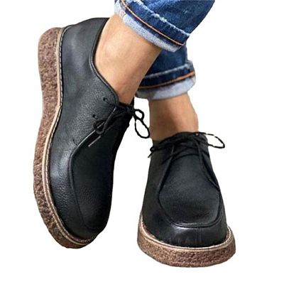 D12875 2021 fall and winter new style street trend solid color round head low heel casual fashion leather lace up shoes