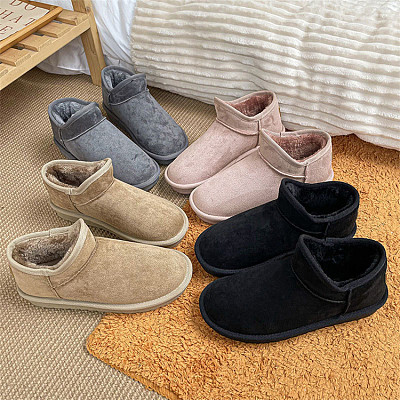 D12946 Solid color 2021 winter new style casual fashion woman shoes keep warm female flat snow boots