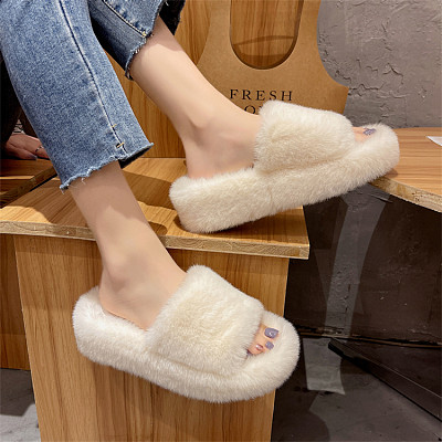 D12952 New style thick soled fashion internet celebrity 2021 autumn and winter home furry slippers