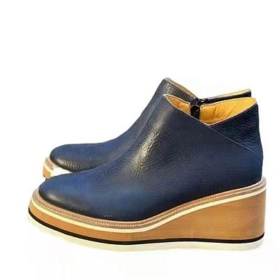 D12827 2021 new style round head solid color side zipper thick soled flat ankle boots leather women shoes