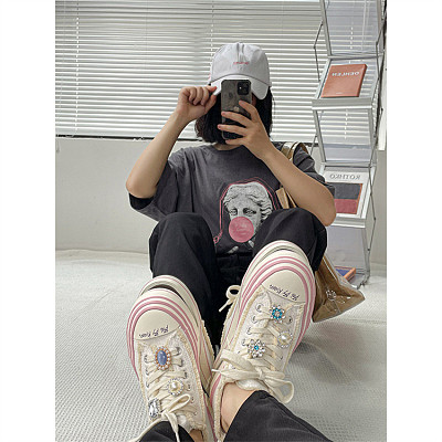 D12943 2021 fall new style pink fashion decorate thick soled women's casual walking shoes canvas sneakers