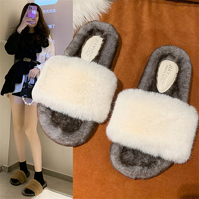 D12954 Comfort fashionable casual chain decorate thick soled peep toe keep warm bedroom flat furry slippers