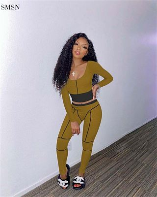 Newest Design Fall Women Two Piece Set Crop Top Patchwork Rib Casual Sportswear Ladies 2 Piece Set Women