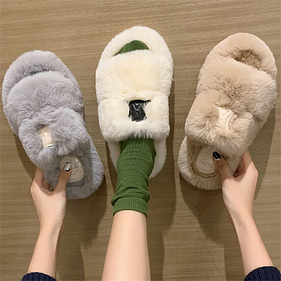 D12948 Internet celebrity 2021 new style solid color fashion casual flat home shoes ladies furry slippers