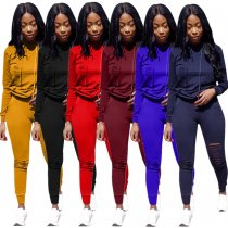 FNDN8140 wholesale 6 colors ripped hooded outfits two piece set women clothing