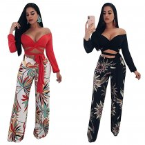 Women's casual floral printed middle waist wide leg pants MN065