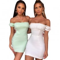 9082333 casual solid color off shoulder short sleeve pleated wrap hip bodycon woman dress