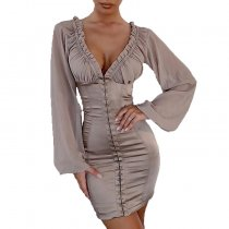 9082332 sexy mesh see through wrap chest agaric edge solid women bodycon sheath mini dress