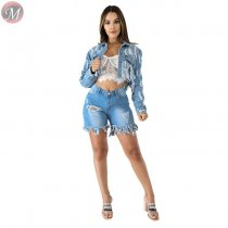 9090922 stylish ripped rough selvedge washed 2019 women long sleeve denim jackets