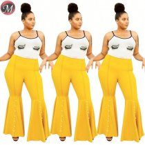 D909044 new sexy pure color mid waist yellow flared Fashion Women Clothing Plus Sizepants