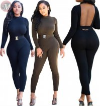 9100103 new sexy backless knitted solid belt women Bodycon Sexy Casual Long Sleeve Jumpsuit
