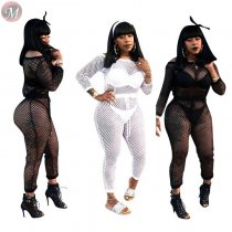 9092607 lowest price off shoulder solid fishnet mesh see through Sexy Long Sleeve Women Jumpsuit 2019