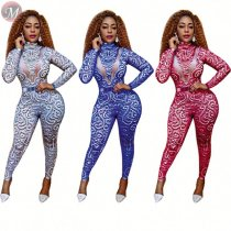 9092611 fashion new digital print skinny women 2019 long sleeve bodycon jumpsuit