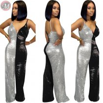 9110127 sexy night clubwear contrsat color suspender Sequin Jumpsuits Women 2019 Sexy