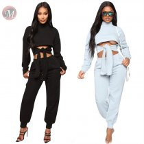 9110205 design fashion crop top front tie solid casual Outfits Clothing Women Two Piece Set 2019