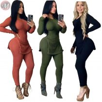 9111216 stylish solid color hem slit rib fabric casual 2019 Pant Two Piece Set Women Clothing