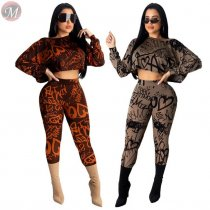 9111220 cheap price monogrammed print crop top and pant autumn Two Piece Set Women Clothing