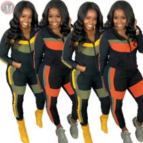 9111222 best price contrast color splicing zipper hooded sports 2019 Pant Clothing Women Two Piece Set