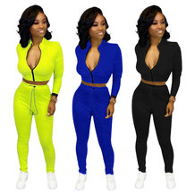 9100833 fall zipper crop top solid skinny Woman Pants Suit Two Piece Outfits Set