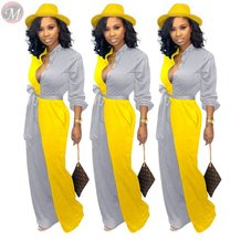 9102532 fashion new contrasting color casual wide leg Long Sleeve Trendy Women Jumpsuits And Rompers