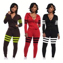 9110534 new design stripe solid splicing hoodie casual Pant 2019 Women Two Piece Outfits Set