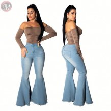 9111103 hot casual high waist stretch washed Flared Woman Pants Jeans