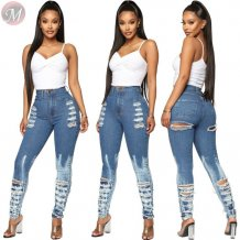 9111104 popular distressed ripped washed pencil High Waist Pants Jeans Women
