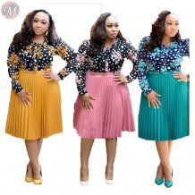 9111902 hot onsale polka dot floral print chiffon pleated Clothing Women Plus Size Dress