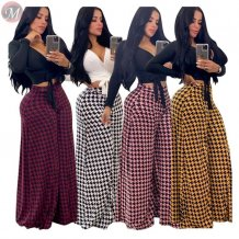 9111325 wholesale sexy checked casual mid waist ladies women clothing wide leg pants