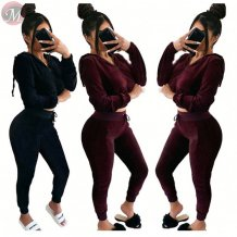 high quality hooded crop top pure color suede 2 Piece Set Women Clothing