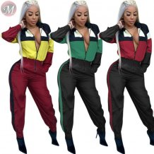 new arrival color block patchwork long zipper hooded casual Wholesale Women One Piece Jumpsuits