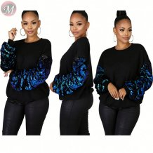 wholesale price black casual pullover sequin sleeve Blouses And Tops Women Fall Clothes