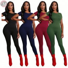 newest design short sleeve round neck solid sheath Jumpsuits Women High Fashion Clothing
