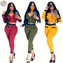 latest design new solid splicing zipper tight bodycon Clothing 2 Piece Set Women
