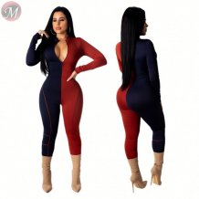 new contrasting color stitching zipper front full length Rompers High Womens Fashion Clothing